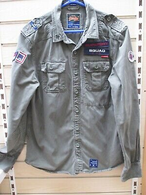 SUPERDRY KHAKI DENIM MILITARY LOOK SHIRT SIZE XXL