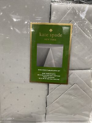 Silver Kate Spade New York Tablecloth and 8 Napkins Set Larabee Dot Holiday New