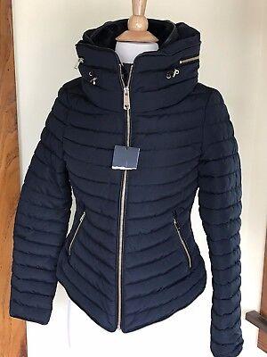 Nwt Zara Larsson Dark Navy Quilted Puffer Coat W  Fur Collar Coat  Size Xs  S  M