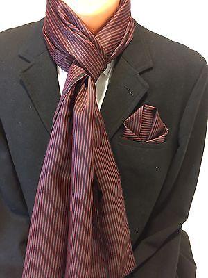 Herren Einstecktuch mit passenden Schal in Blau-Rot Gestreift