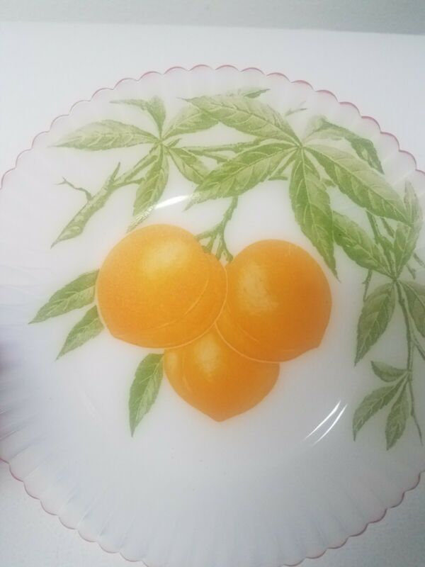 Vintage Macbeth Evans Petalware Hand Painted Plate with Fruit Peaches & Red Trim