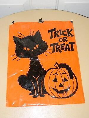 Vtg HALLOWEEN TRICK OR TREAT CANDY BAG DECORATION BLACK CAT & PUMPKIN Norcross