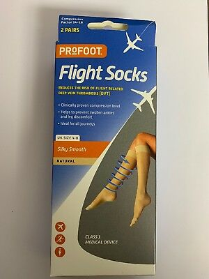 Mens Womens Anti-Fatigue Compression Flight Travel Socks Size 4-8 Natural