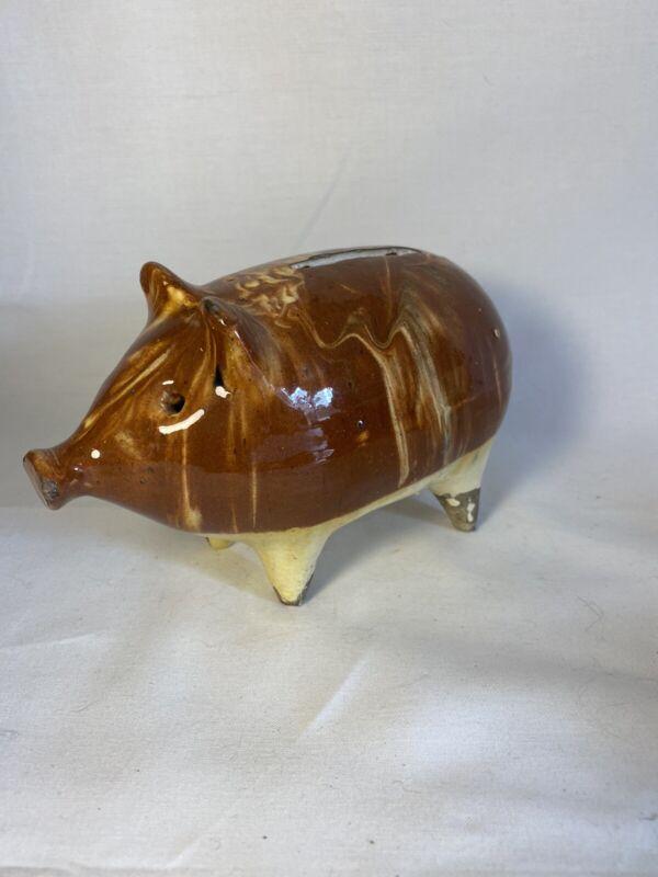"antique brown swirl Painted PIGGY BANK ironstone Ceramic  6""x4"" primitive Pig"