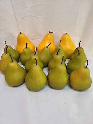 Vintage Artificial Fake Plastic Fruit Pears Yellow Green Farm House - Set Of 16