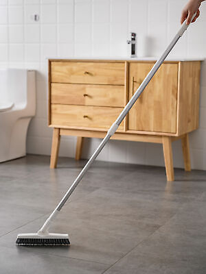 Floor Scrub Brush With Long Handle Stiff Bristle Shower Deck Grout Cleaning Tile