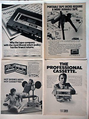 Lot #7 of 20 Different Cassette Recording Tape Magazine Print Ads ~ 3-M Maxell +