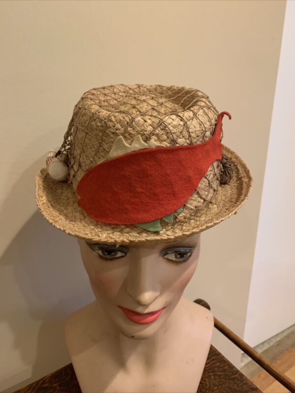 Vintage 1950's-1960's Dobbs New York Straw Hat With Net And Fish