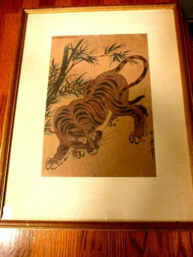 """Vtg Framed Chinese Tiger Print on Parchment, Signed in Chinese, Frame-18""""x14"""""""