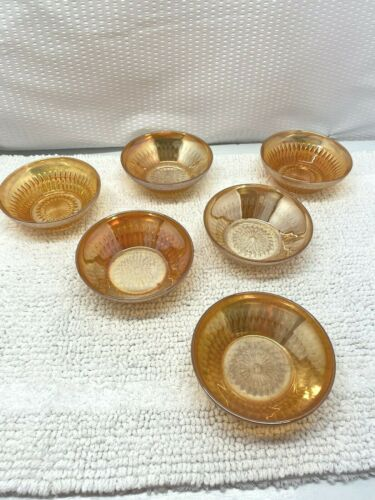 Carnival Glass Dessert Bowls-Set of Six