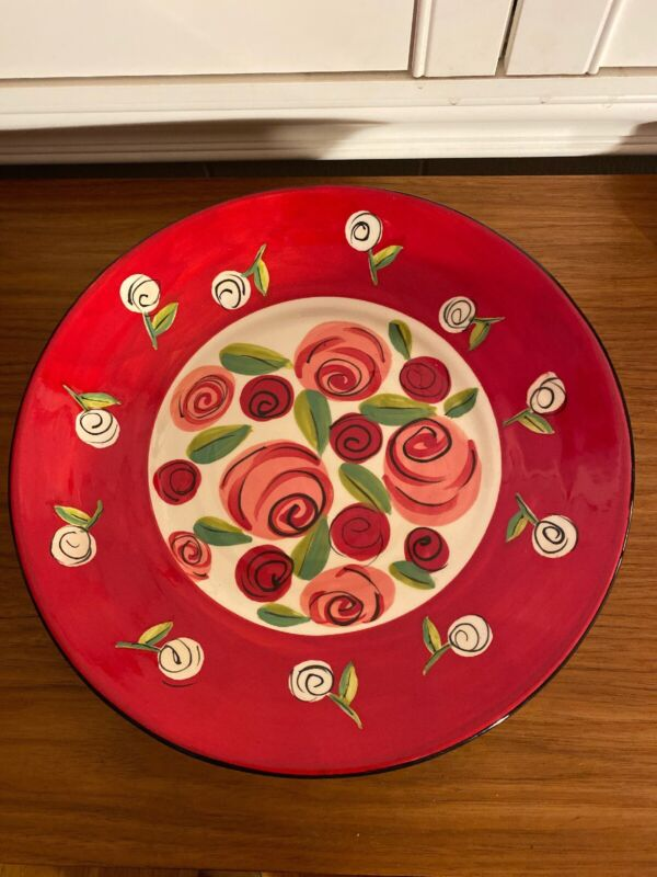 """Mary Rose Young for Hausenware 12"""" Serving Plate Roses Stripes 2"""" Tall"""