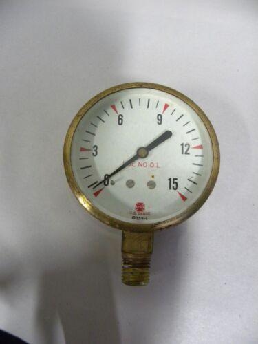 Vtg Industrial Machine Age Steampunk USG US Gauge Brass Pressure Gage (A5)
