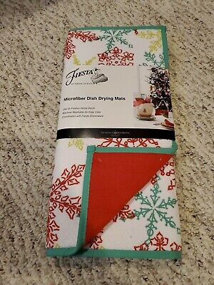 2  Fiesta dinnerware Christmas holiday snowflake microfiber dish drying mats  ()