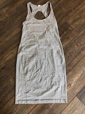 Lululemon Go For It Dress Grey Striped Open Back Sleeveless Summer Midi - Size 8