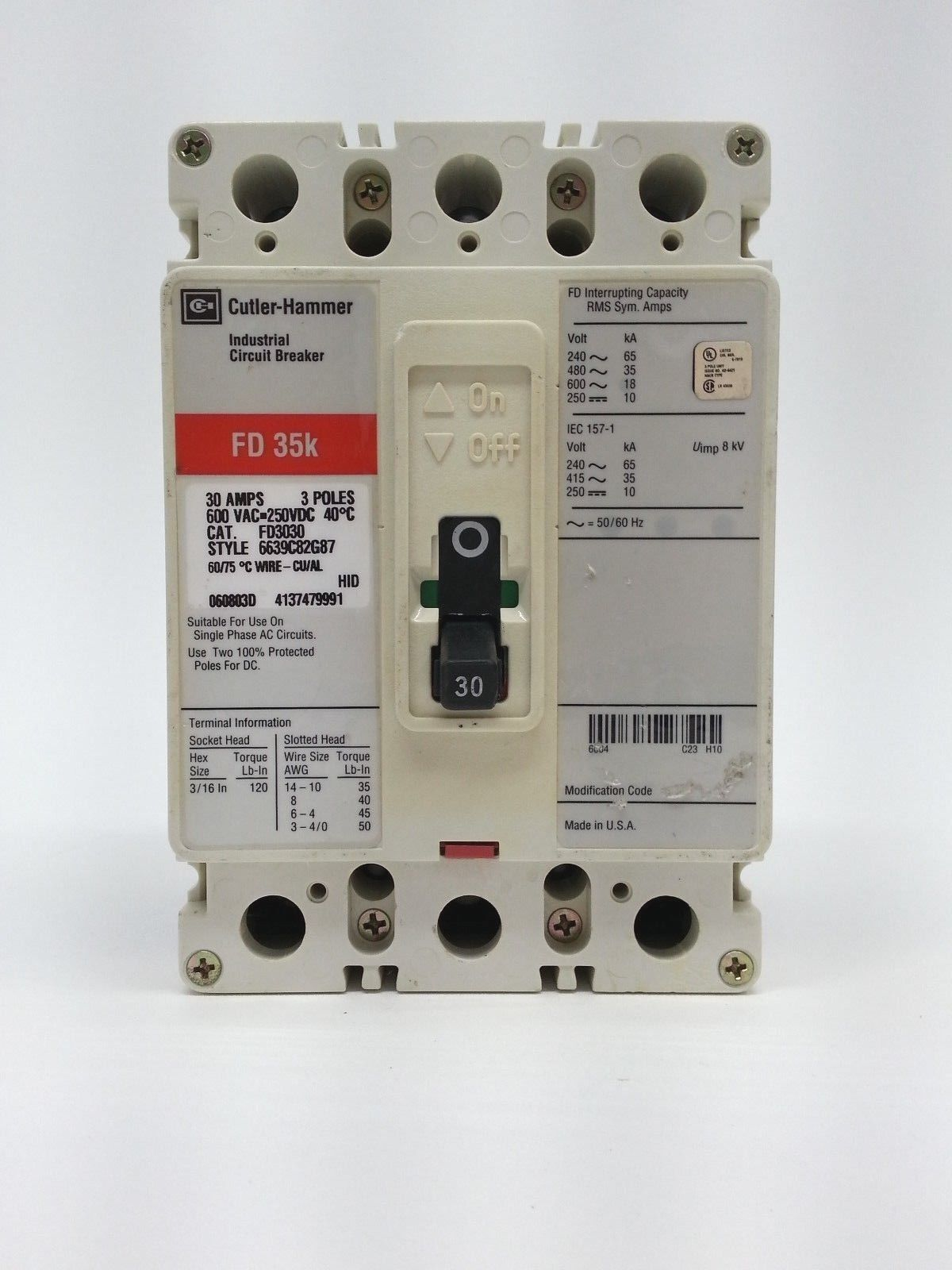 Cutler Hammer FD3030 Circuit Breaker Type FD 35k 3 Pole 30 Amp 600 on