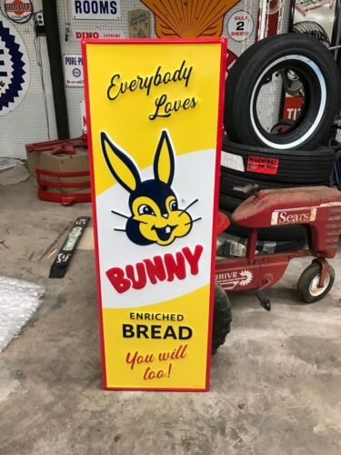 """""""BUNNY BREAD"""" LARGE EMBOSSED METAL SIGN, 42""""x 14"""" EXCELLENT (NEAR MINT) COND."""