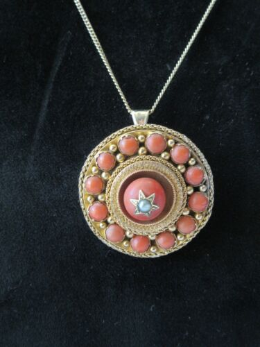 ANTIQUE VICTORIAN 18K ROSE GOLD CORAL PEARL MOURNING PENDANT  BROOCH NECKLACE