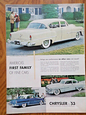 1953 Chrysler New Yorker Sedan Windsor DeLuxe Newport &Windsor  Club Coupe Ad