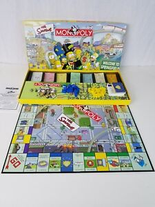 THE SIMPSONS Welcome to Springfield Edition MONOPOLY Board Game 2001 Complete