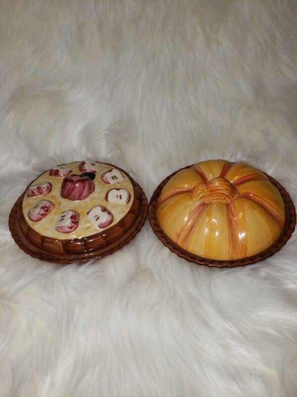 "2 5"" vintage 1996 abc ceramic pie dish apple & pumpkin"