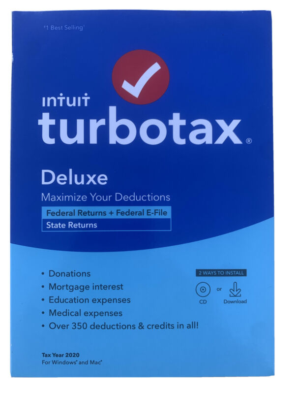 Intuit TurboTax Deluxe 2020 Federal State FACTORY SEALED *EMAIL Delivery* Option