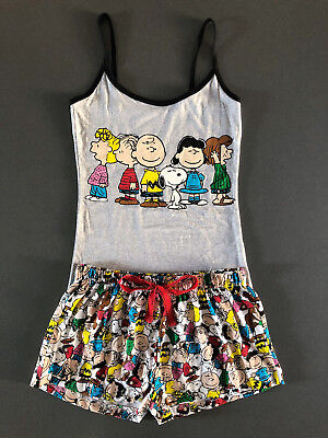 Peanuts SNOOPY Damen Pyjama Schlafanzug Kurz Shorty Top + Shorts XS-S Primark