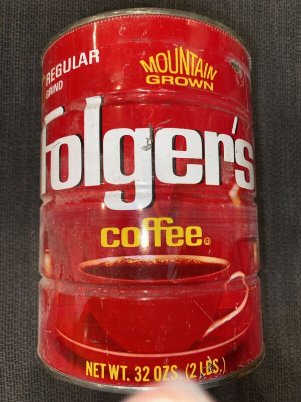 VINTAGE FOLGERS COFFEE Tin. Regular Grind 2 LB MOUNTAIN GROWN Just Tin