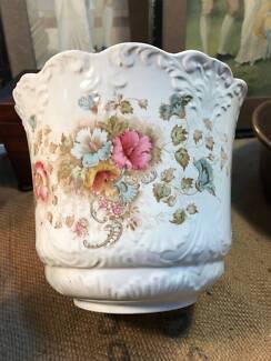 Antique English Victorian Floral Decorated Pot Plant Jardiniere