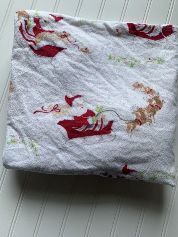 Pottery Barn Kids Christmas Flannel Fitted Crib Sheet Santa Sleigh Holiday