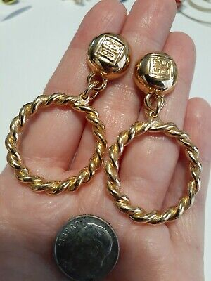 Givenchy Gold Tone Logo Circle Earrings Large Pierced Vintage Couture Designer