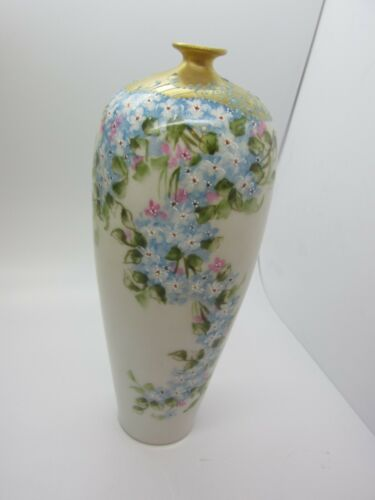 "RARE Antique ELITE Limoges France Hand Painted Gold Encrusted Moriage 7.5"" Vase"