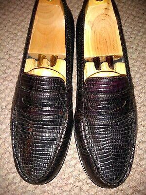 Genuine exotic lizard handmade penny loafer in 9 UK / weston homage