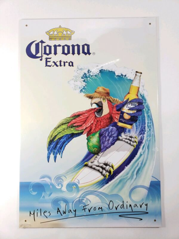 Corona Extra Metal Sign Parrot Surfing 18x12