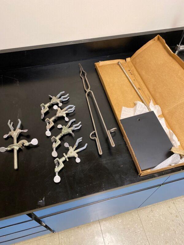Fisher Scientific  Bundle w/ Scissor Lift 5 Clamps NEW Stand