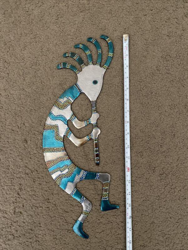 "Kokopelli Southwestern Native American Music Wall Hanging Metal Art 18"" Tall"