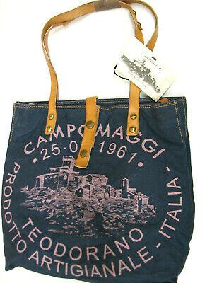 Print Canvas Shopper (Campomaggi Handtasche Canvas Shopper blau  naturale Print rosa Herbst 2019...)