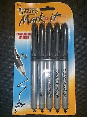 Bic 5 Fine Point Mark It Permanent Marker Grip It Fine Comfortable Rubber Grip