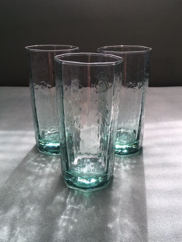 Libbey Spanish Green Octagon Tumblers- Set Of 4