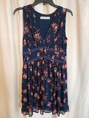 Abercrombie and Fitch Floral Ruched Midi Dress Large Petite LP Navy Roses Velvet