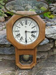 Vintage Elgin Regulator Pendulum Wall Clock: Battery, French Country, Solid Oak