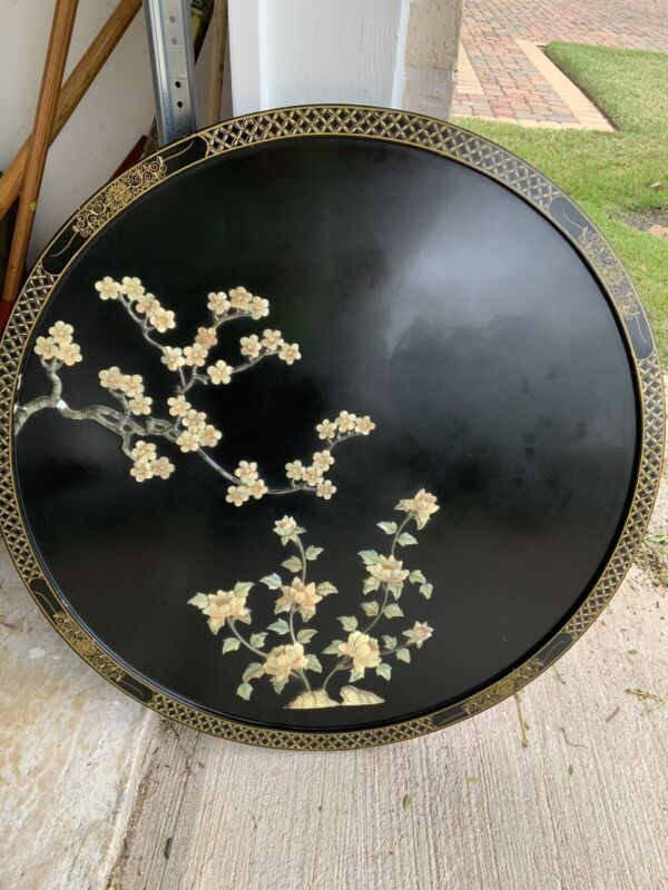 """Vintage Asian Wall Art Round Black Lacquer Mother of Pearl 35-1/2"""""""