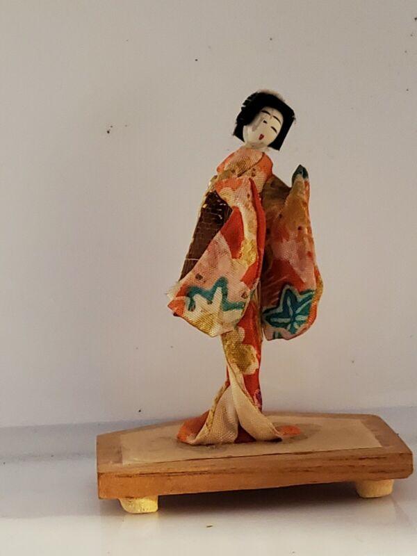 """Vintage Japanese Miniature Geisha Girl Doll Wood 3 1/2"""""""