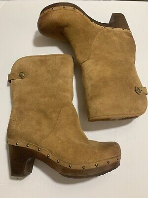UGG CAM II WOMEN MID CALF BOOTS LEATHER CHESTNUT US 6