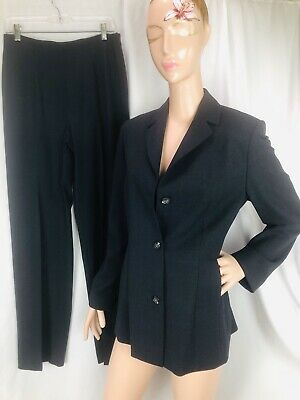 Banana Republic Pant Suit Dark Gray Wool Blend Woman Size 10 Lightweight Italy