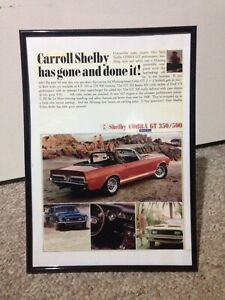 1968 Ford Shelby GT 350 & GT 500 Cobra Mustang Framed Reproduction Ad Sunbury Hume Area Preview