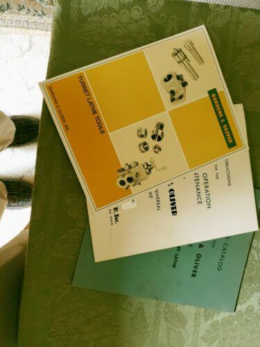 Original Bardons and Oliver Original Turret Lathe Manuals, catalog Not Copies