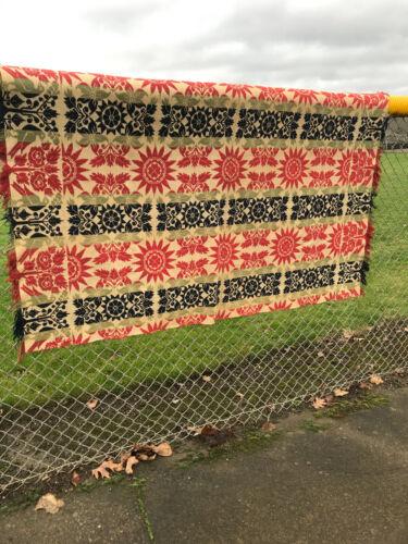 1841 Pennsylvania COUNTIES Triple Color Coverlet Linen Antique Textile Free Ship