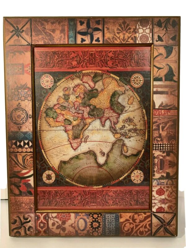 Antique Style Old World Map Eastern Hemisphere Asia Africa Framed Wall Art Print