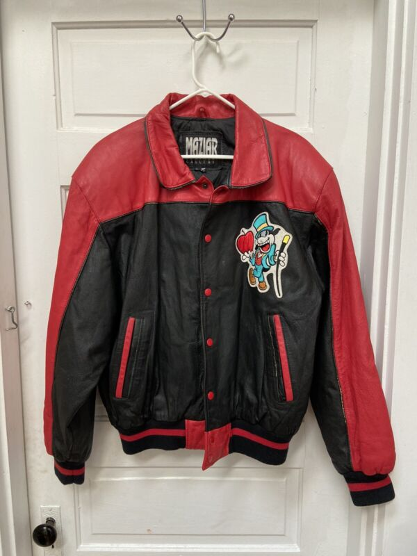 MAZIAR VINTAGE BETTY BOOP STATUE OF LIBERTY LEATHER JACKET HUGE IMAGE ON BACK, L