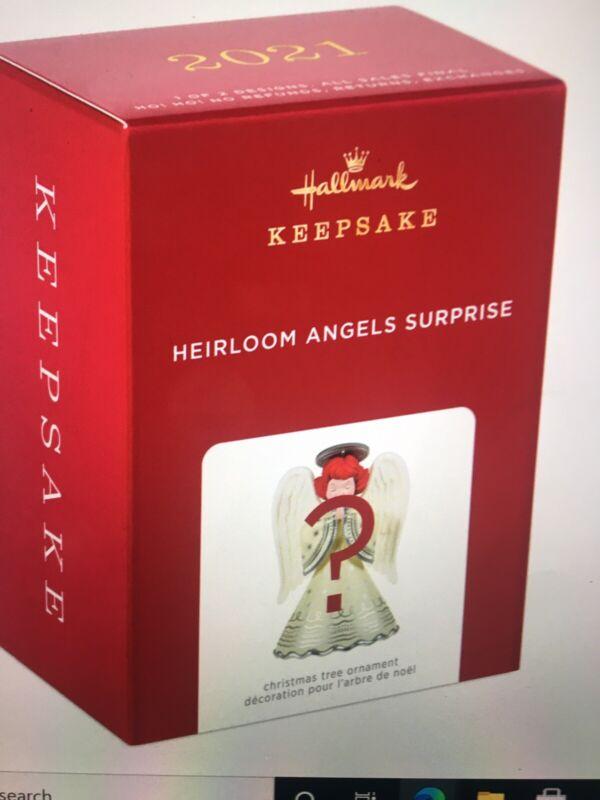 "2021 Hallmark Keepsake Mystery Heirloom Angel Surprise RARE Red With Gold Trim"""